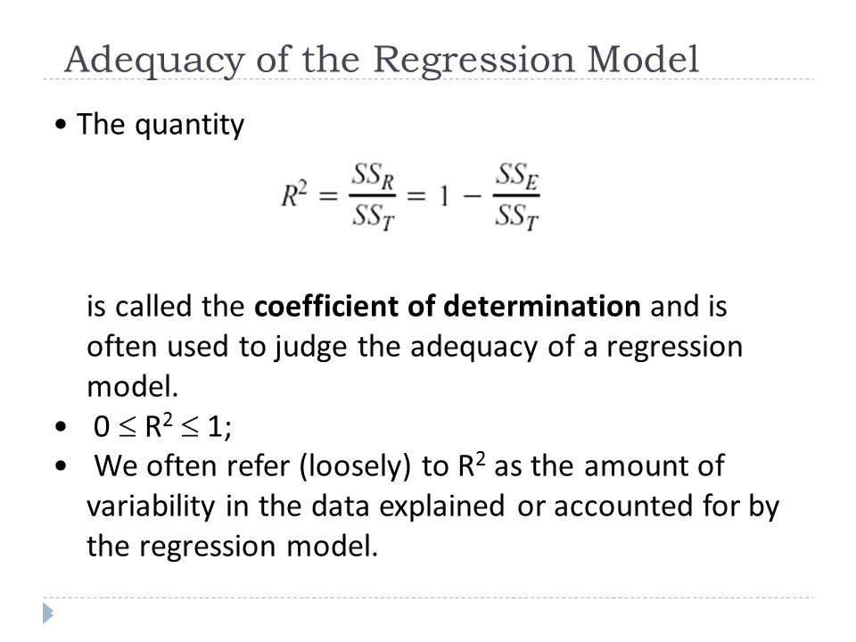 Adequacy of the Regression Model The quantity is called the coefficient of determination and is often used to judge the adequacy of a regression model