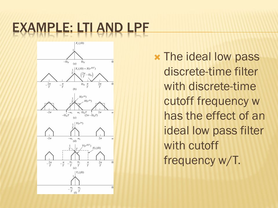  The ideal low pass discrete-time filter with discrete-time cutoff frequency w has the effect of an ideal low pass filter with cutoff frequency w/T.
