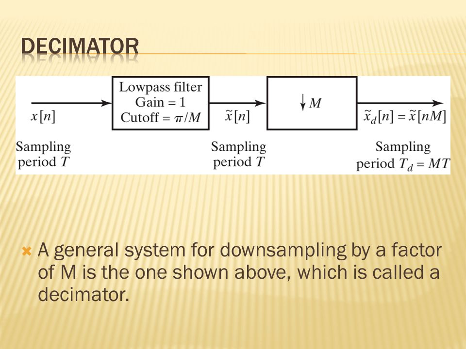  A general system for downsampling by a factor of M is the one shown above, which is called a decimator.