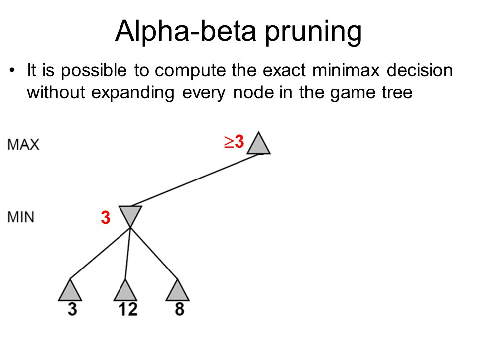 Alpha-beta pruning It is possible to compute the exact minimax decision without expanding every node in the game tree 3 33