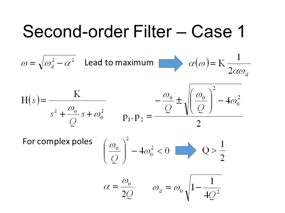 Second-order Filter – Case 1 Q times of DC gain Q times
