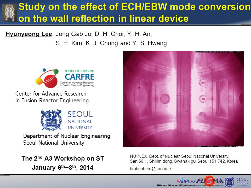 22 /20 LHY_A3_JAN07 Study on the effect of ECH/EBW mode conversion on the wall reflection in linear device on January 07 th 2014, at Tsinghua University LFSX injection Leakage MW power monitoring Preliminary ECH Experiment Result(3)  X_Slit/O_Slit : The wall with X/O mode MW radiation when reflection is occurred in the wall  Density : Wall > X_Slit > O_Slit > No_Wall  Over dense plasma and X mode polarized wave effect shows the evidence of the EBW mode conversion(XB)  The result of monitoring the leakage MW No_wall > O_Slit > X_slit