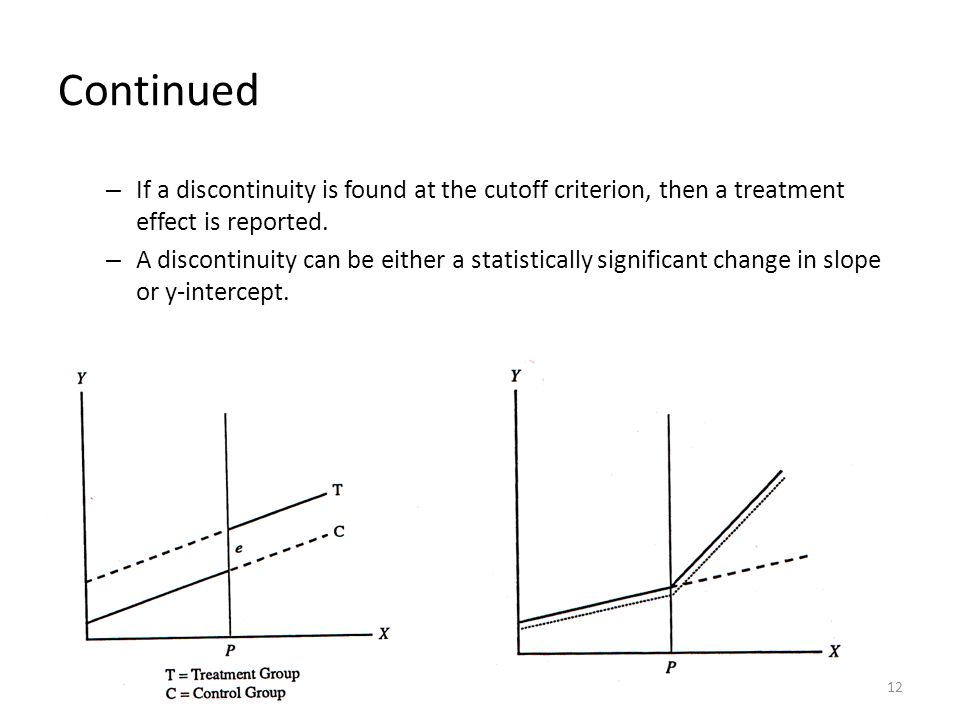Continued – If a discontinuity is found at the cutoff criterion, then a treatment effect is reported.
