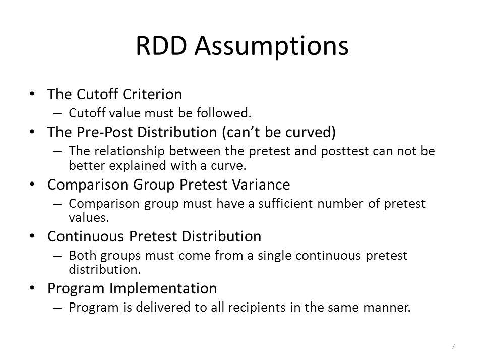 RDD Assumptions The Cutoff Criterion – Cutoff value must be followed.