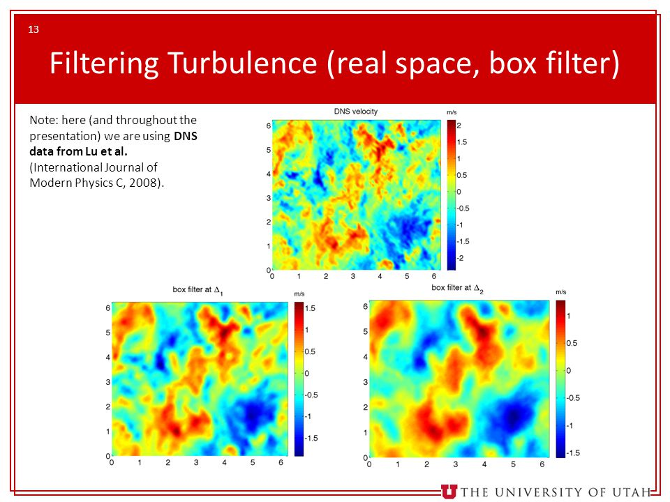 13 Filtering Turbulence (real space, box filter) Note: here (and throughout the presentation) we are using DNS data from Lu et al. (International Jour