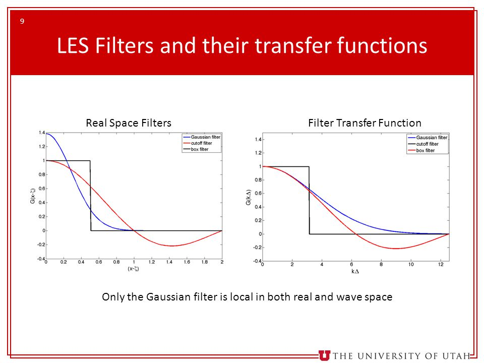 9 LES Filters and their transfer functions Real Space FiltersFilter Transfer Function Only the Gaussian filter is local in both real and wave space
