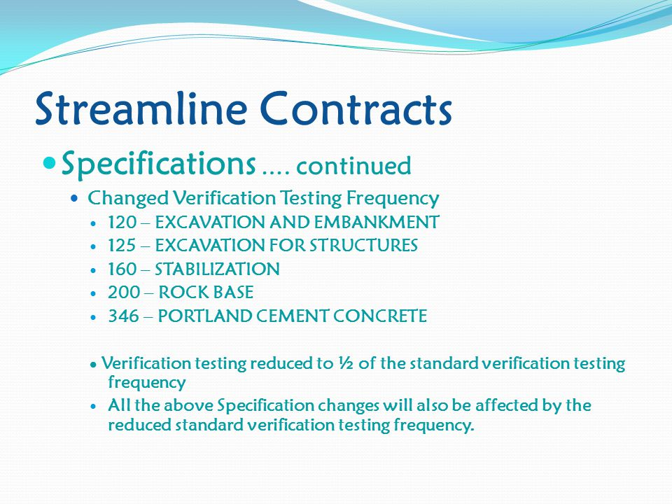 Streamline Contracts Specifications ….