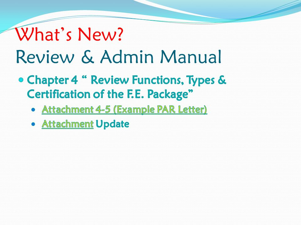 What's New? Review & Admin Manual