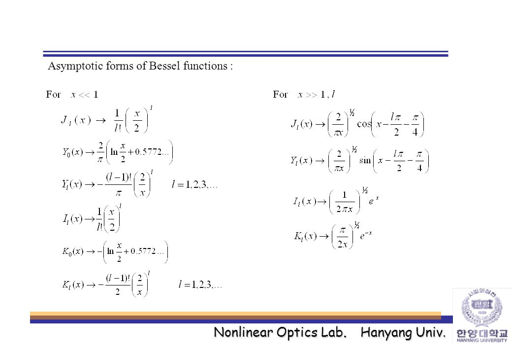 Nonlinear Optics Lab. Hanyang Univ. Asymptotic forms of Bessel functions :