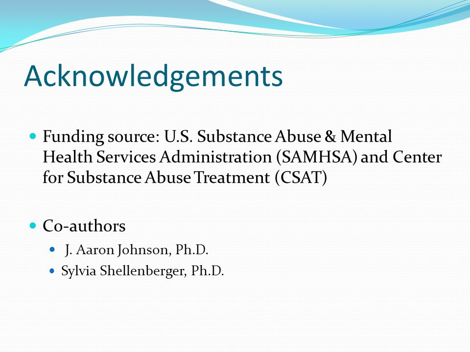 Acknowledgements Funding source: U.S.