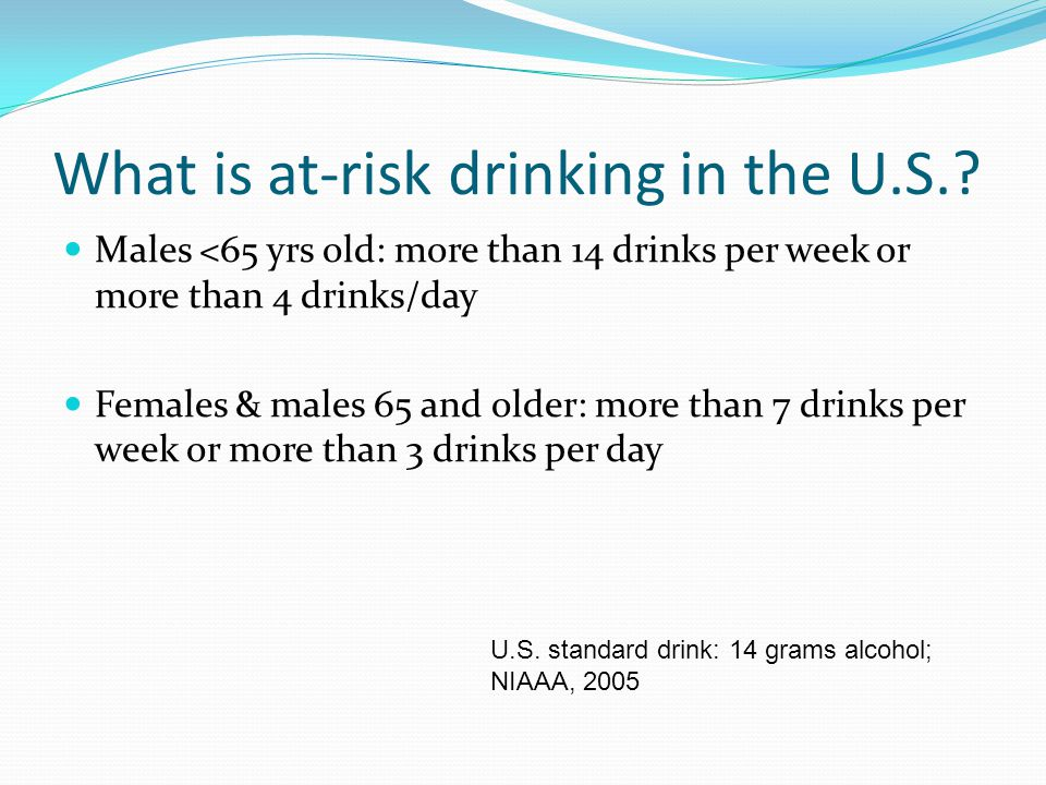 What is at-risk drinking in the U.S..