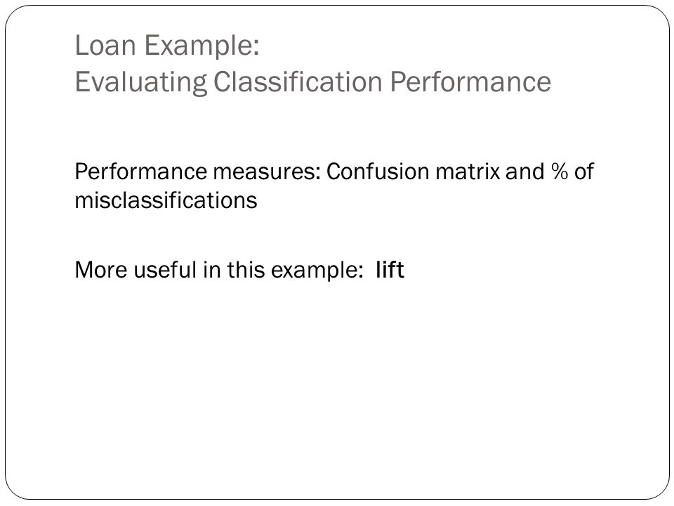 Loan Example: Evaluating Classification Performance Performance measures: Confusion matrix and % of misclassifications More useful in this example: li