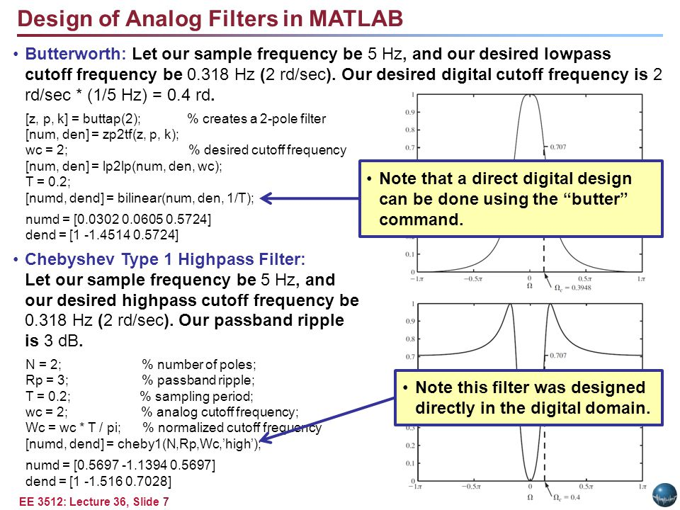 EE 3512: Lecture 36, Slide 7 Design of Analog Filters in MATLAB Butterworth: Let our sample frequency be 5 Hz, and our desired lowpass cutoff frequency be 0.318 Hz (2 rd/sec).