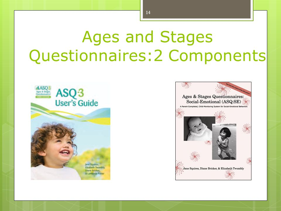 Ages and Stages Questionnaires:2 Components 14