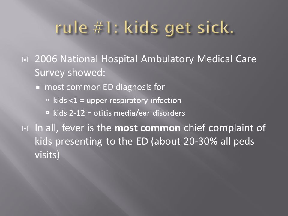  2006 National Hospital Ambulatory Medical Care Survey showed:  most common ED diagnosis for  kids <1 = upper respiratory infection  kids 2-12 = o