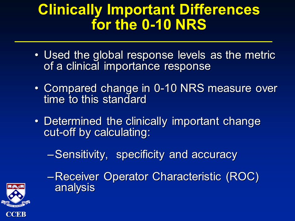 CCEB Clinically Important Differences for the 0-10 NRS Used the global response levels as the metric of a clinical importance responseUsed the global response levels as the metric of a clinical importance response Compared change in 0-10 NRS measure over time to this standardCompared change in 0-10 NRS measure over time to this standard Determined the clinically important change cut-off by calculating:Determined the clinically important change cut-off by calculating: –Sensitivity, specificity and accuracy –Receiver Operator Characteristic (ROC) analysis