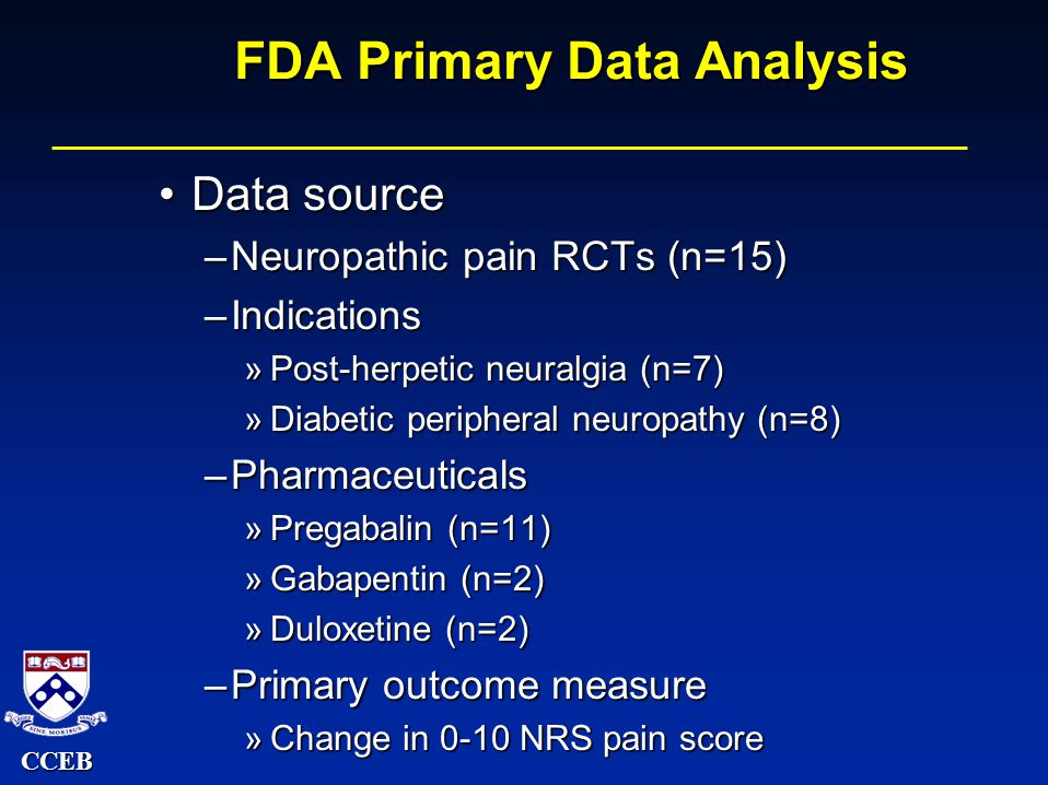 CCEB FDA Primary Data Analysis Data sourceData source –Neuropathic pain RCTs (n=15) –Indications »Post-herpetic neuralgia (n=7) »Diabetic peripheral neuropathy (n=8) –Pharmaceuticals »Pregabalin (n=11) »Gabapentin (n=2) »Duloxetine (n=2) –Primary outcome measure »Change in 0-10 NRS pain score