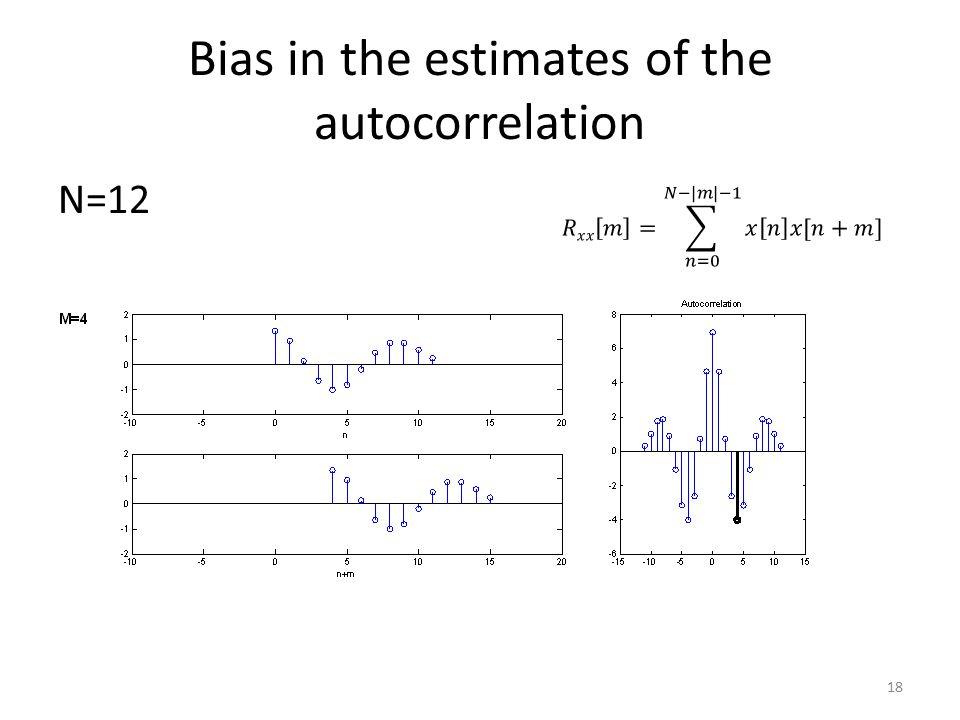 Bias in the estimates of the autocorrelation N=12 18