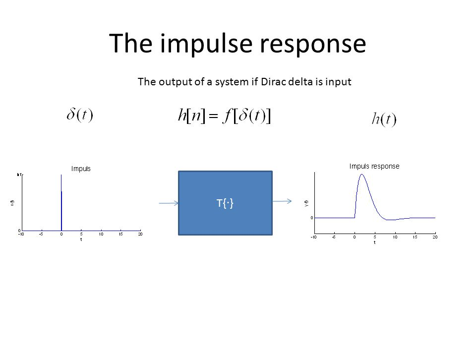 The impulse response T{ ∙ } The output of a system if Dirac delta is input