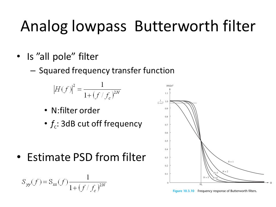 "Analog lowpass Butterworth filter Is ""all pole"" filter – Squared frequency transfer function N:filter order f c : 3dB cut off frequency Estimate PSD f"