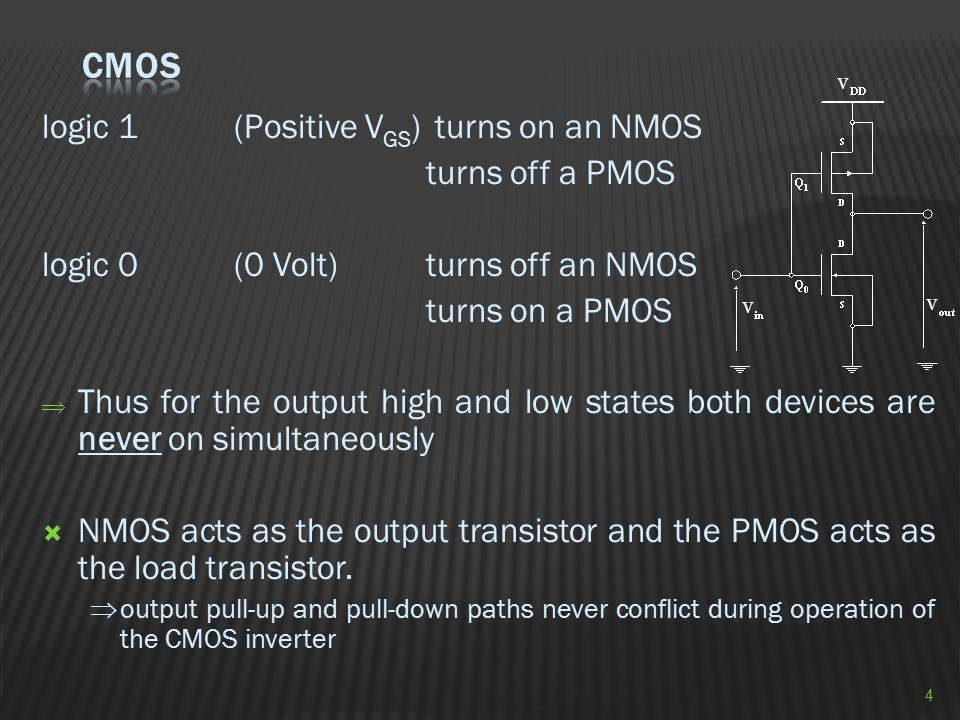 logic 1(Positive V GS ) turns on an NMOS turns off a PMOS logic 0(0 Volt)turns off an NMOS turns on a PMOS  Thus for the output high and low states b
