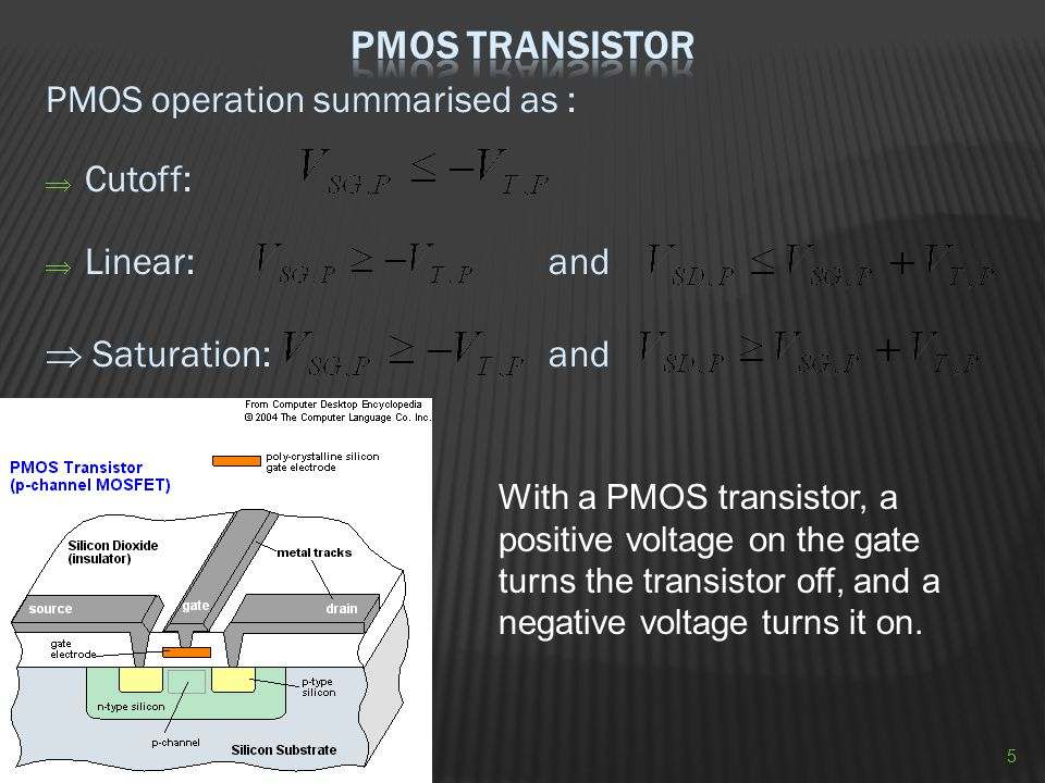 PMOS operation summarised as :  Cutoff:  Linear: and  Saturation: and With a PMOS transistor, a positive voltage on the gate turns the transistor o