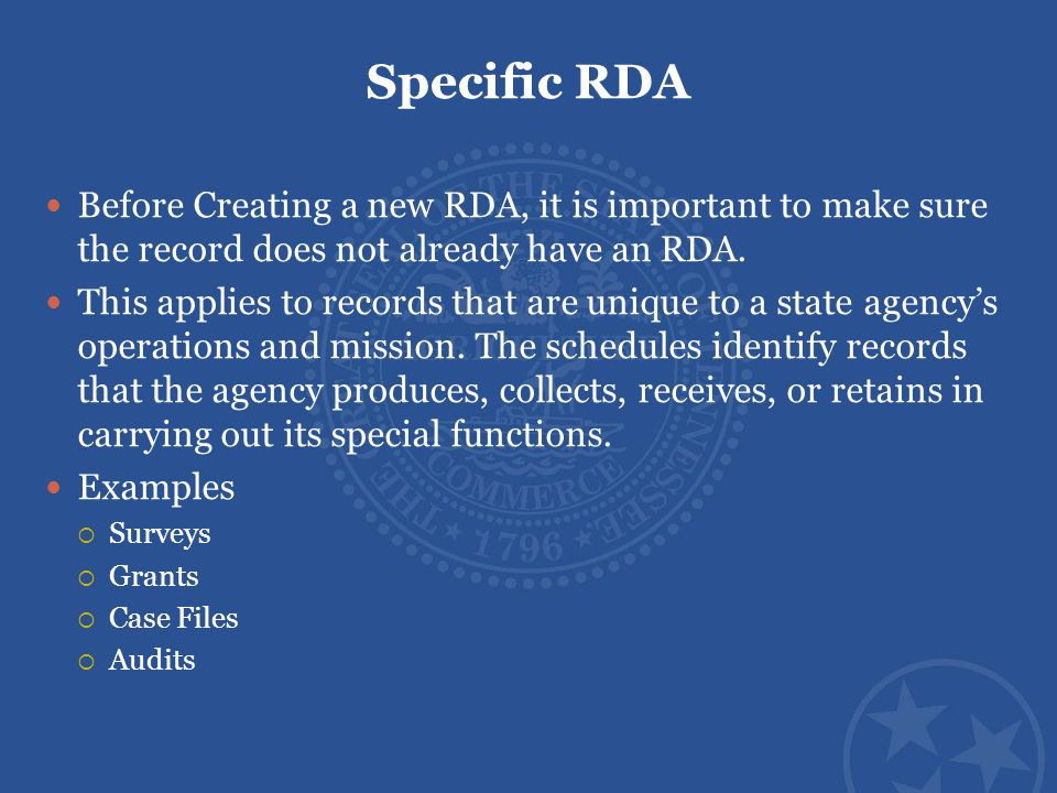 Specific RDA Before Creating a new RDA, it is important to make sure the record does not already have an RDA. This applies to records that are unique