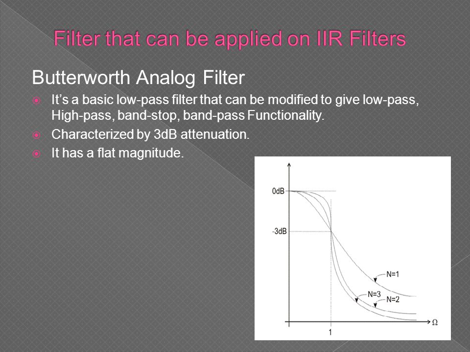 Butterworth Analog Filter  It's a basic low-pass filter that can be modified to give low-pass, High-pass, band-stop, band-pass Functionality.  Chara