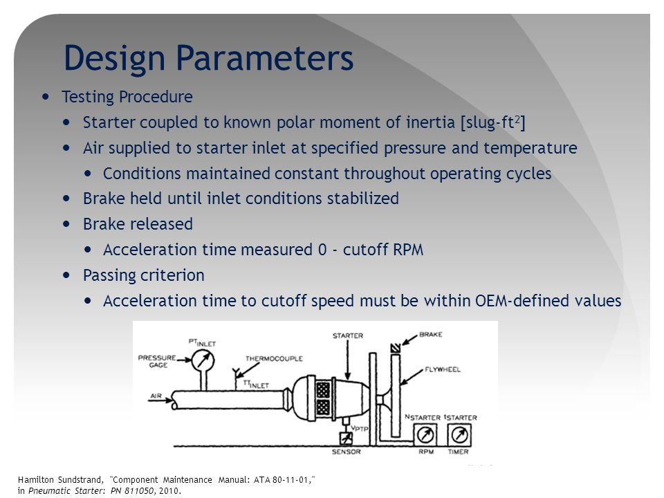 Preliminary Design Analysis The following parameters must be identified for ATS to be tested Maximum power and corresponding speed Minimum power and corresponding speed Maximum torque and corresponding speed Minimum torque and corresponding speed ATS manuals provide certain parameter specifications, including speed, however power and torque are not know at corresponding speed Using torque relationships, average torque can be found; not MAX or MIN [1] J.