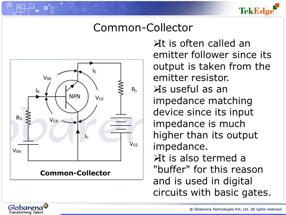 Common-Collector  It is often called an emitter follower since its output is taken from the emitter resistor.  Is useful as an impedance matching de