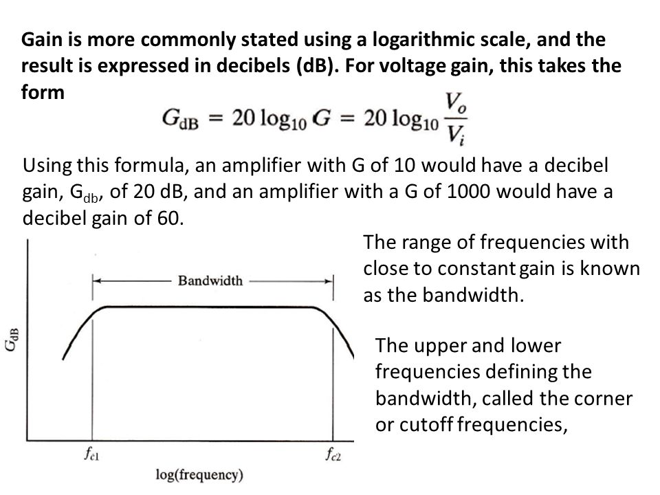 Gain is more commonly stated using a logarithmic scale, and the result is expressed in decibels (dB).