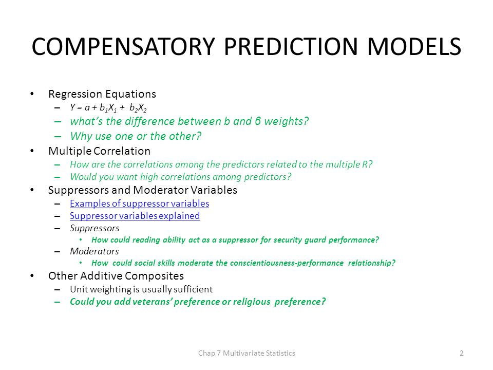 NONCOMPENSATORY PREDITION MODELS Multiple Cutoff Models – Two situations warrant it: 1.