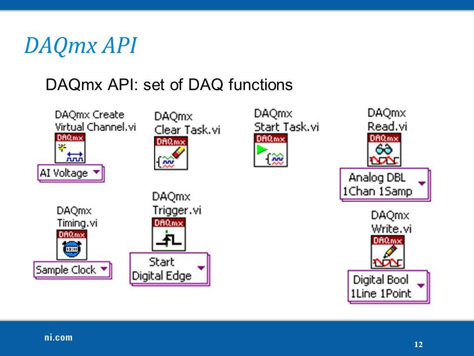 DAQmx API DAQmx API: set of DAQ functions 12