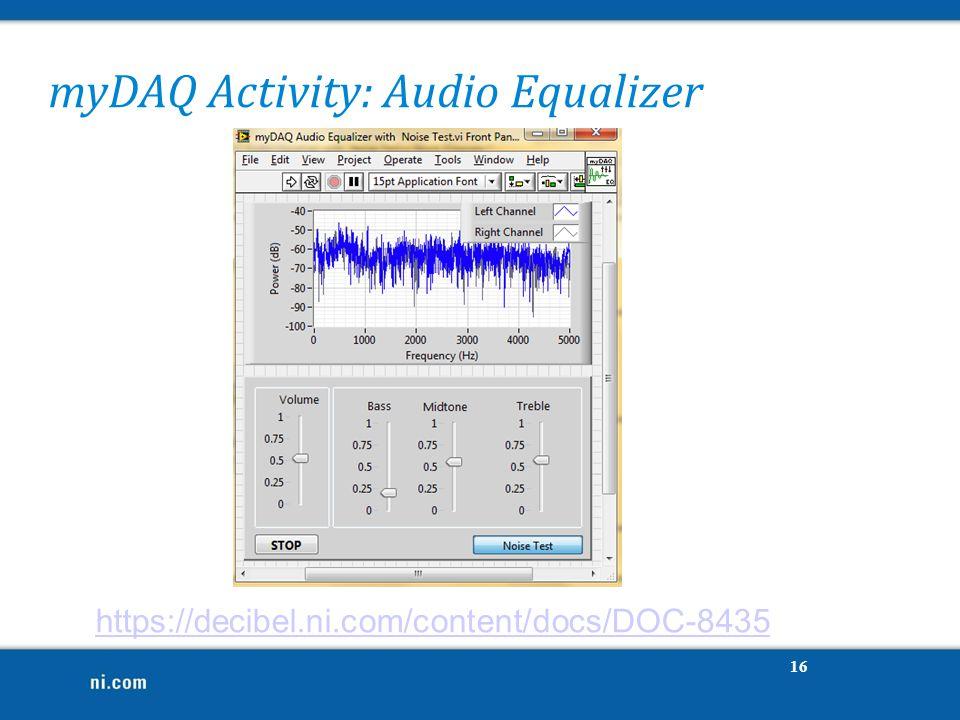 myDAQ Activity: Audio Equalizer https://decibel.ni.com/content/docs/DOC-8435 16