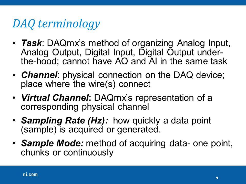 DAQ terminology Task: DAQmx's method of organizing Analog Input, Analog Output, Digital Input, Digital Output under- the-hood; cannot have AO and AI i