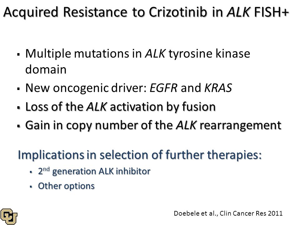 Acquired Resistance to Crizotinib in ALK FISH+   Multiple mutations in ALK tyrosine kinase domain   New oncogenic driver: EGFR and KRAS  Loss of