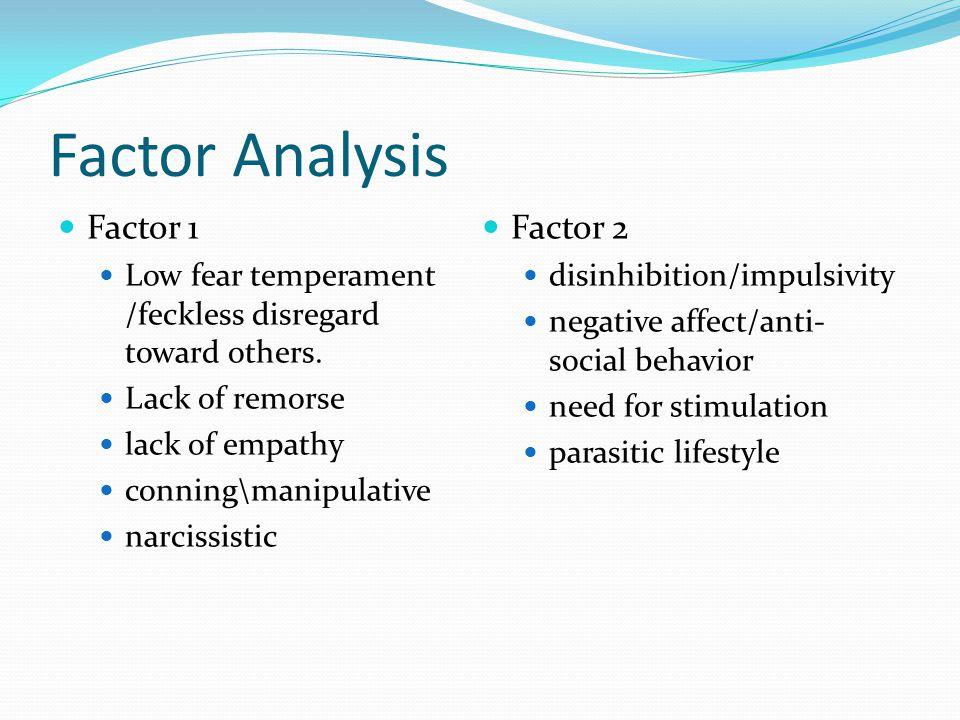 Factor Analysis Factor 1 Low fear temperament /feckless disregard toward others.