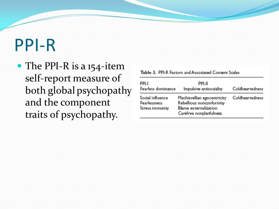 PPI-R The PPI-R is a 154-item self-report measure of both global psychopathy and the component traits of psychopathy.