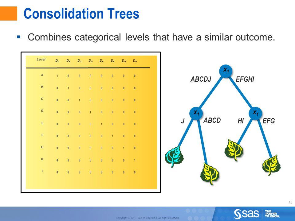 13 Copyright © 2011, SAS Institute Inc. All rights reserved. Consolidation Trees x2x2 70% HI EFG x Level 1000000010000000 DADBDCDDDEDFDGDHDADBDCDDDEDF