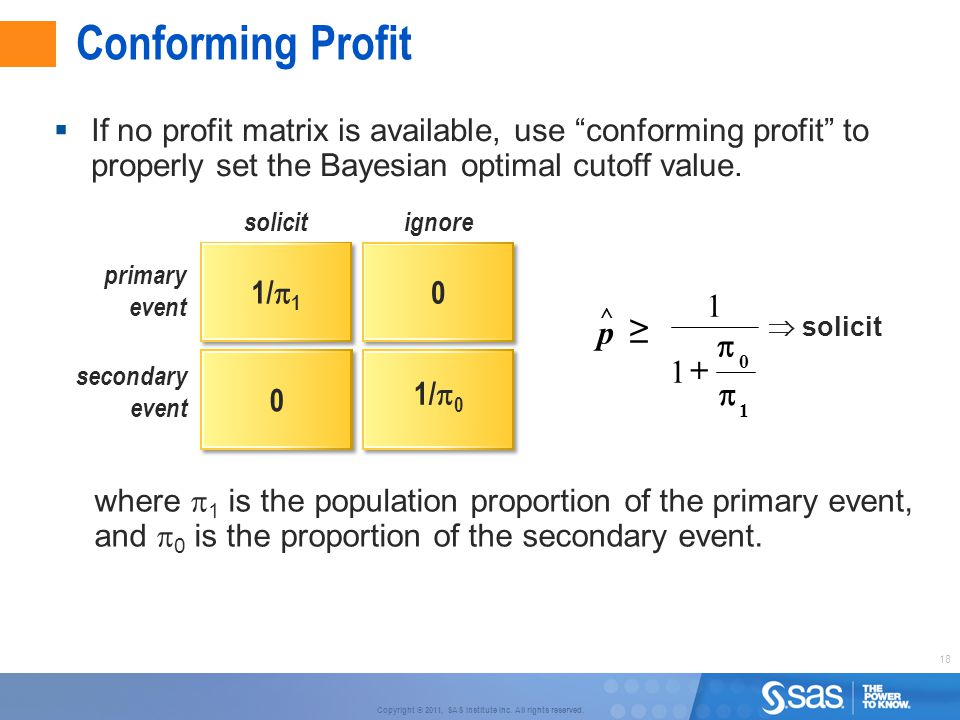 """18 Copyright © 2011, SAS Institute Inc. All rights reserved. Conforming Profit 1/  0  If no profit matrix is available, use """"conforming profit"""" to p"""