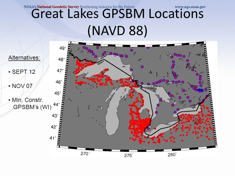 Great Lakes GPSBM Locations (NAVD 88) Alternatives: SEPT 12 NOV 07 Min. Constr. GPSBM's (WI)