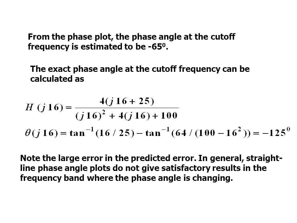 From the phase plot, the phase angle at the cutoff frequency is estimated to be -65 0.