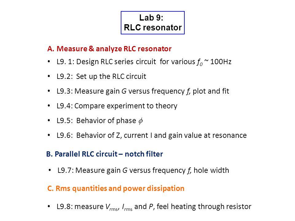 Lab 9: RLC resonator A. Measure & analyze RLC resonator L9.