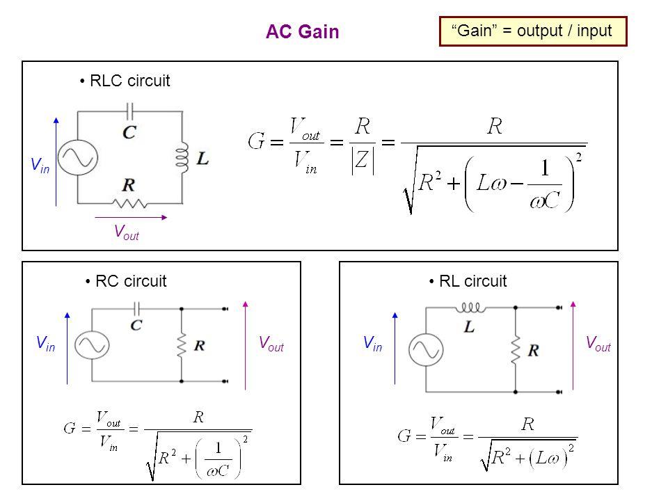 AC Gain Gain = output / input V in V out RLC circuit RC circuit V in V out RL circuit V in V out
