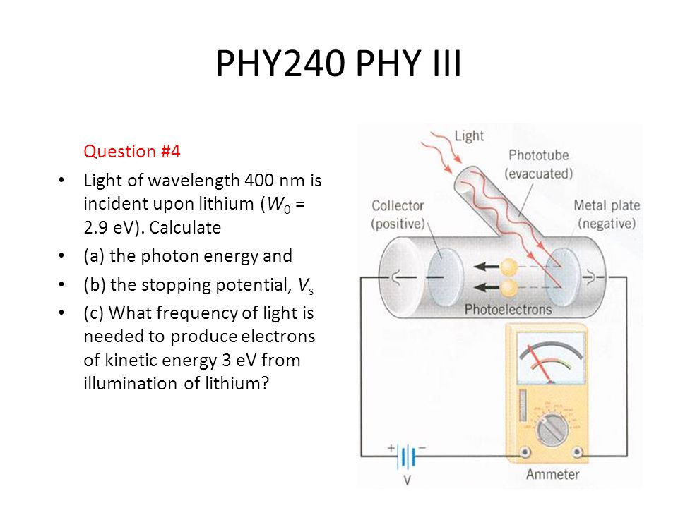 5 PHY240 PHY III Question #4 Light of wavelength 400 nm is incident upon lithium (W 0 = 2.9 eV).