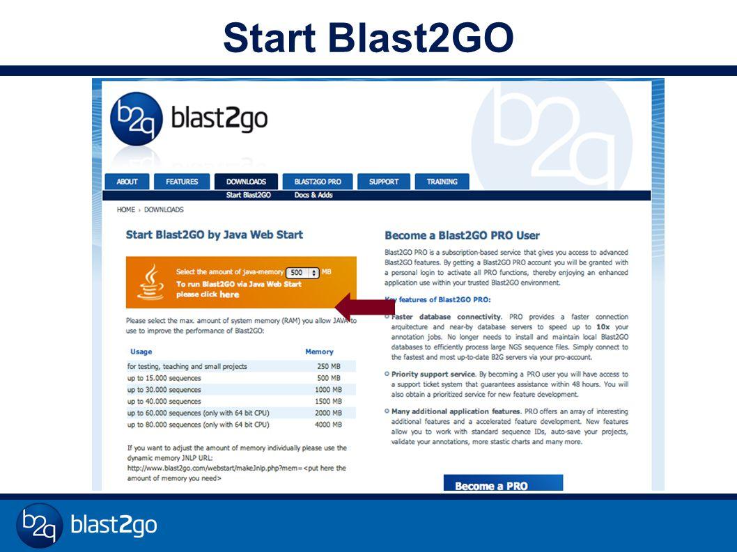 Start Blast2GO