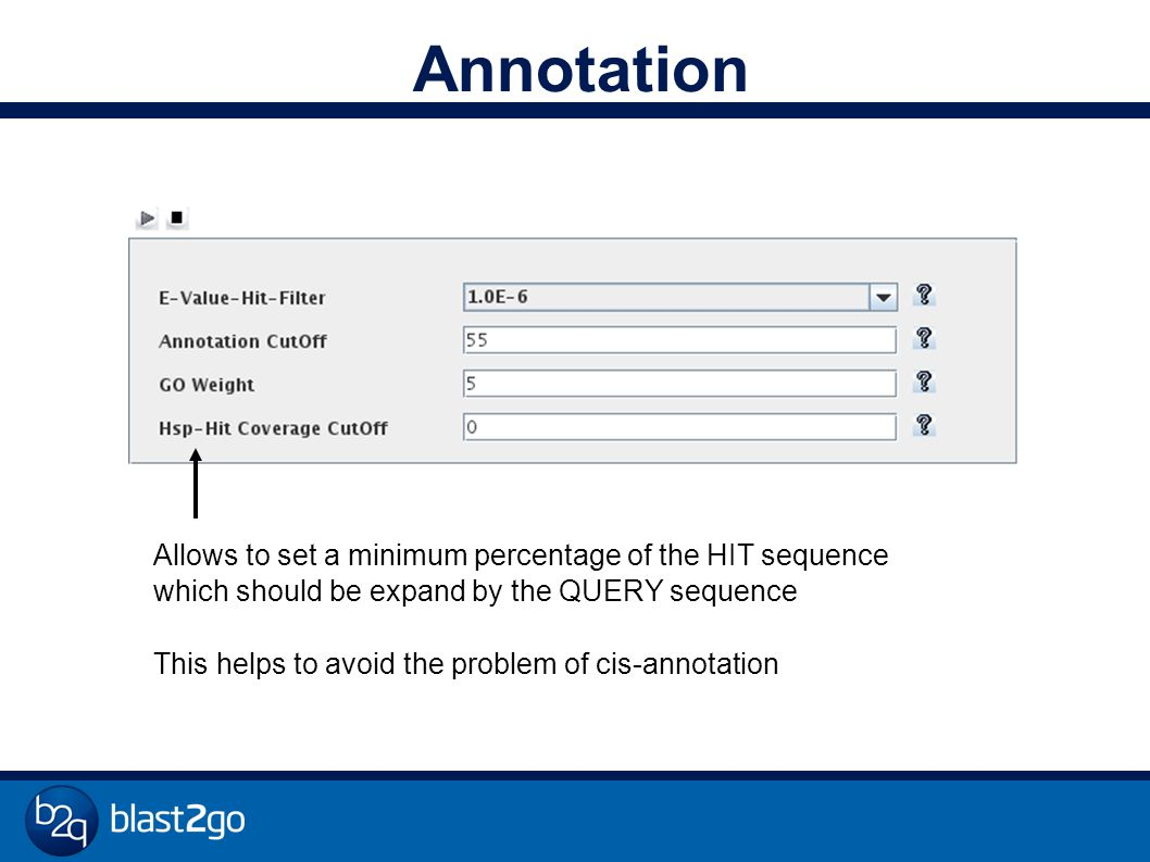 Annotation Allows to set a minimum percentage of the HIT sequence which should be expand by the QUERY sequence This helps to avoid the problem of cis-annotation