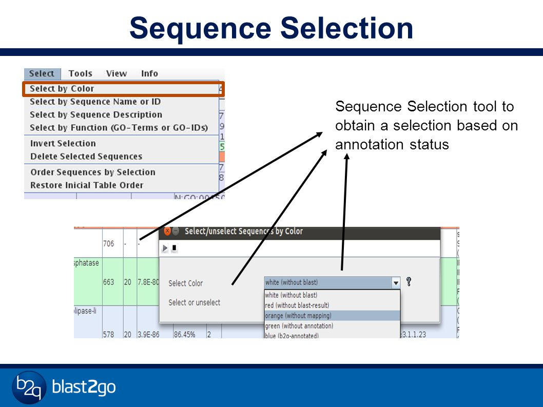 Sequence Selection Sequence Selection tool to obtain a selection based on annotation status