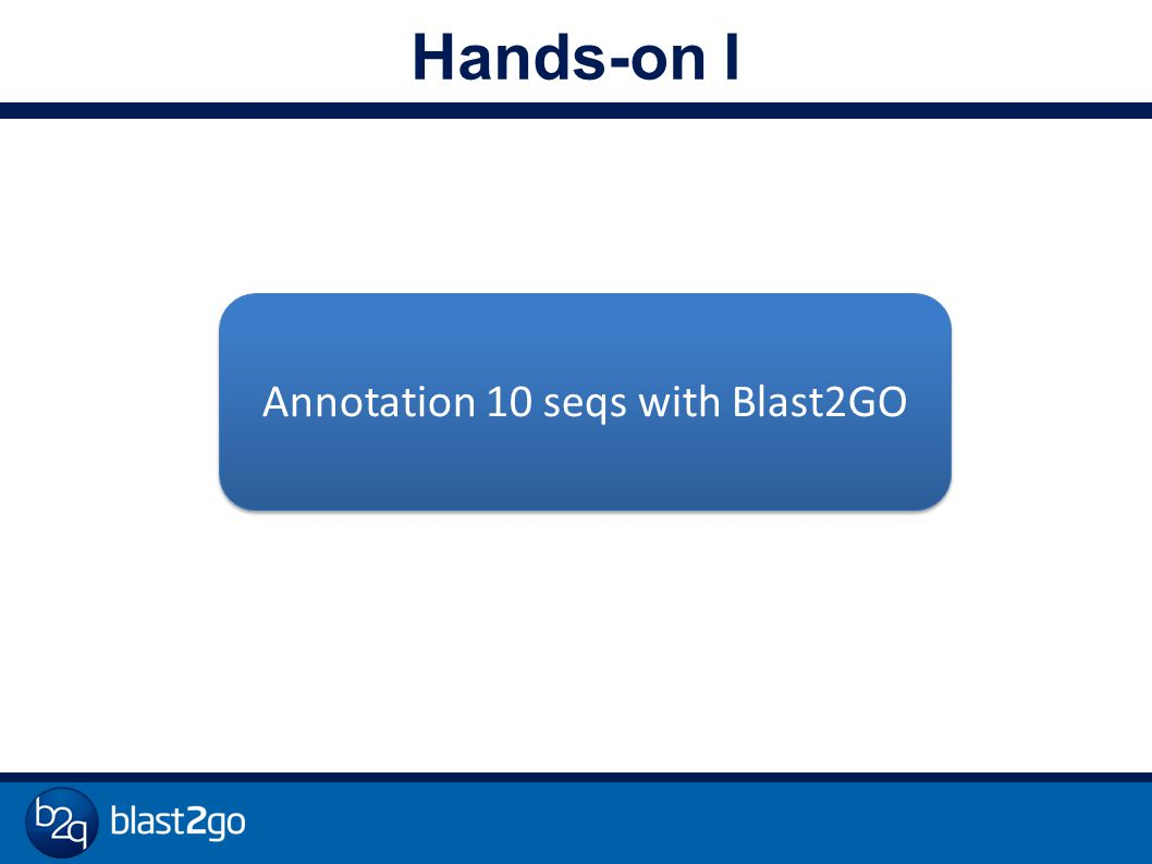 Hands-on I Annotation 10 seqs with Blast2GO
