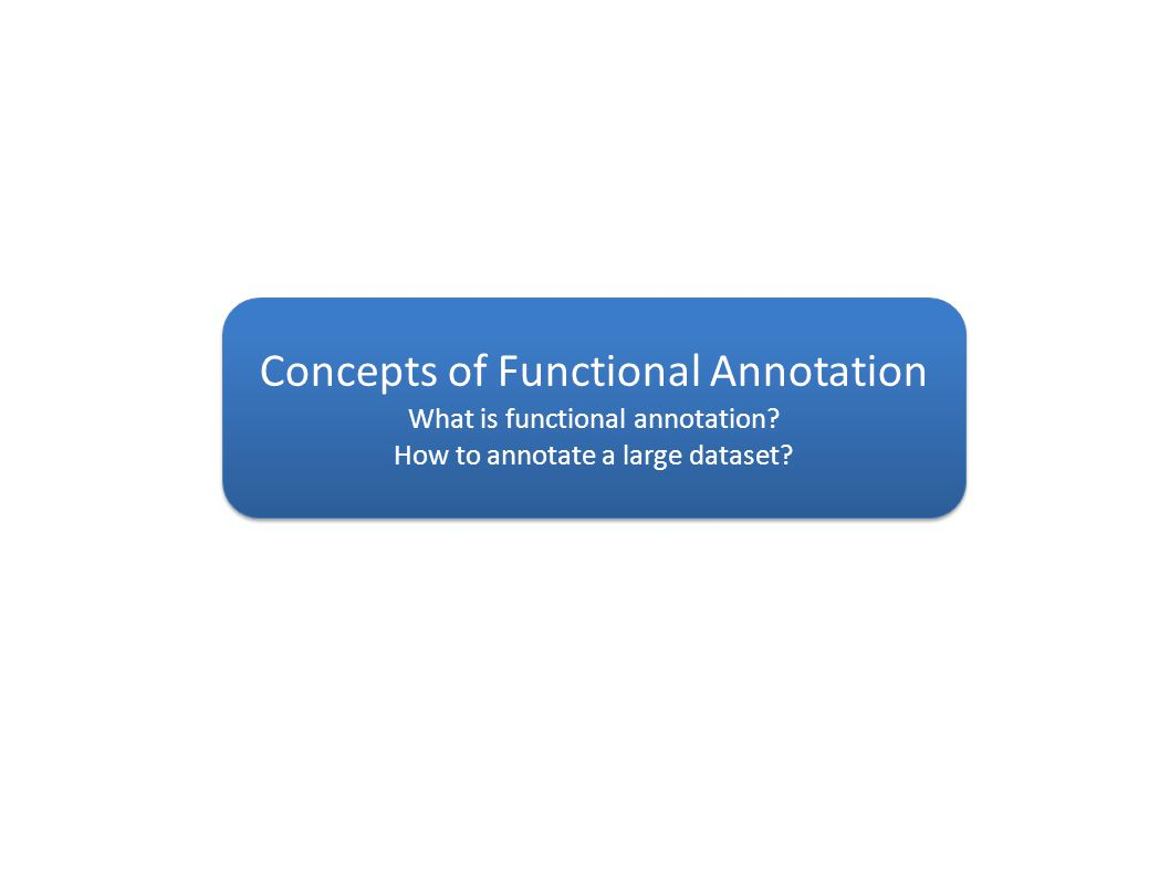 Concepts of Functional Annotation What is functional annotation.